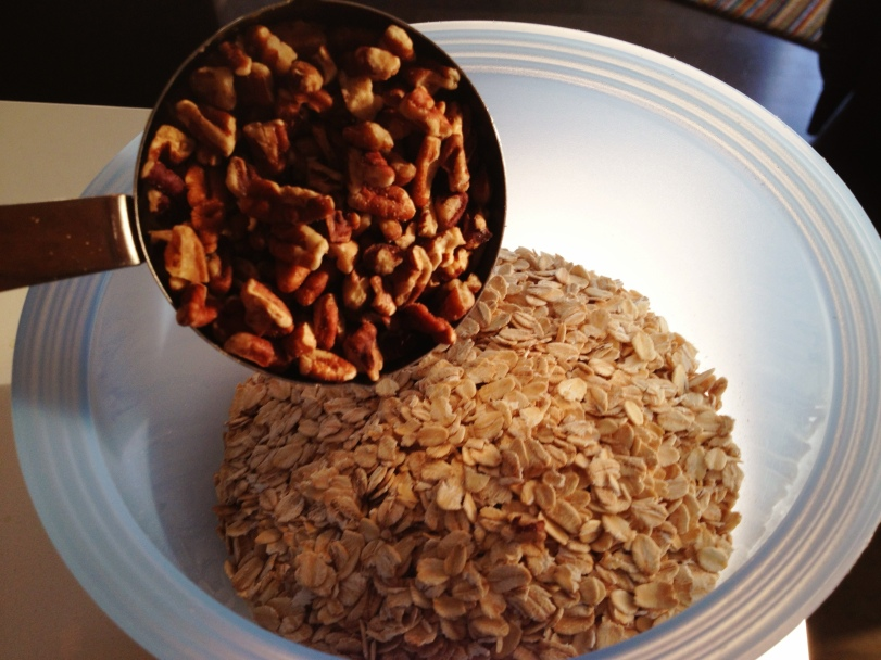 Oats and Pecans-Crispy topping in the making