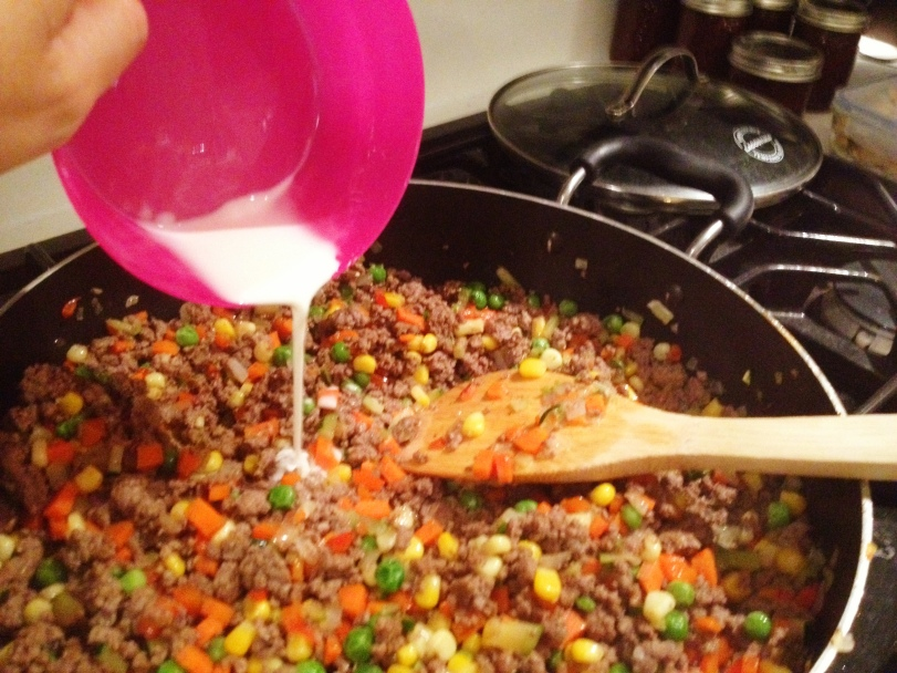 Mix up the corn starch and then add to your beef and veggie mixture
