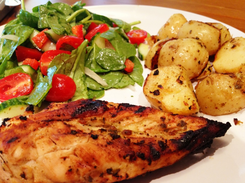 Souvlaki Chicken paired with a simple green salad and Lemon Grilled Potatoes