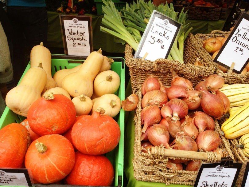 winter squash and shallots from Cropthorne Organic Farm