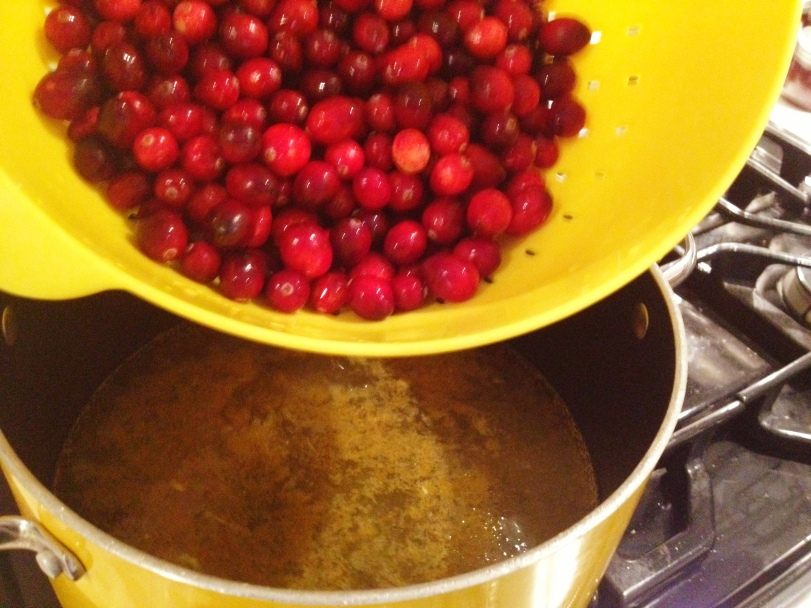 Add your cranberries once the sugar liquid is boiling and the sugar has dissolved