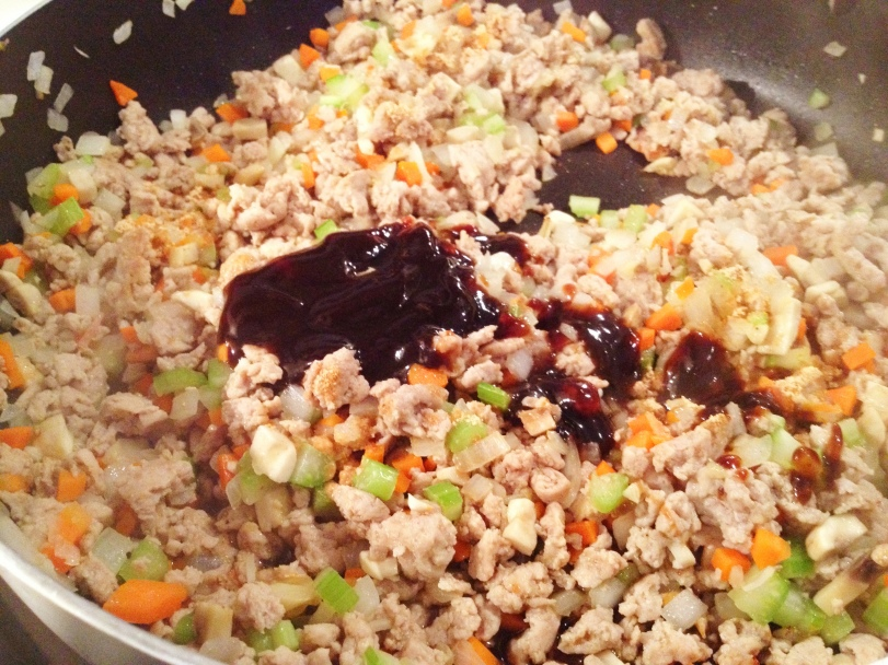 Add hoisin, rice wine vinegar, soy sauce and sriracha