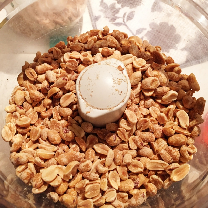 Pour your peanuts in the bowl of the food processor