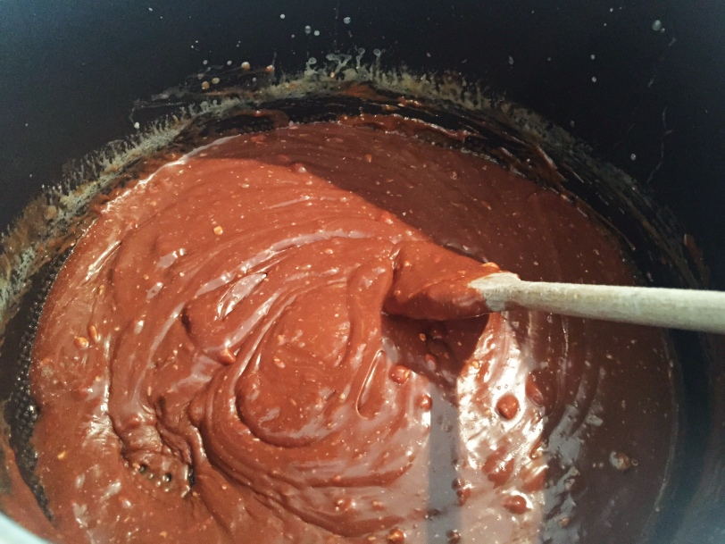 Stir until all of the chocolate is melted and the mixture is completely combined.