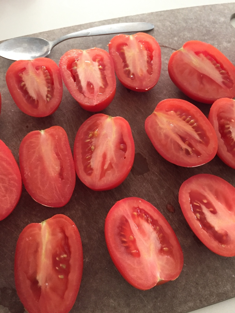Cut your plum tomatoes in half
