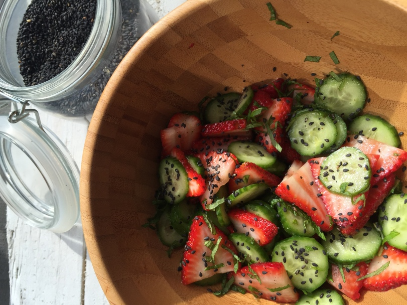 Gorgeous Cucumber, Strawberry Mint Salad!!