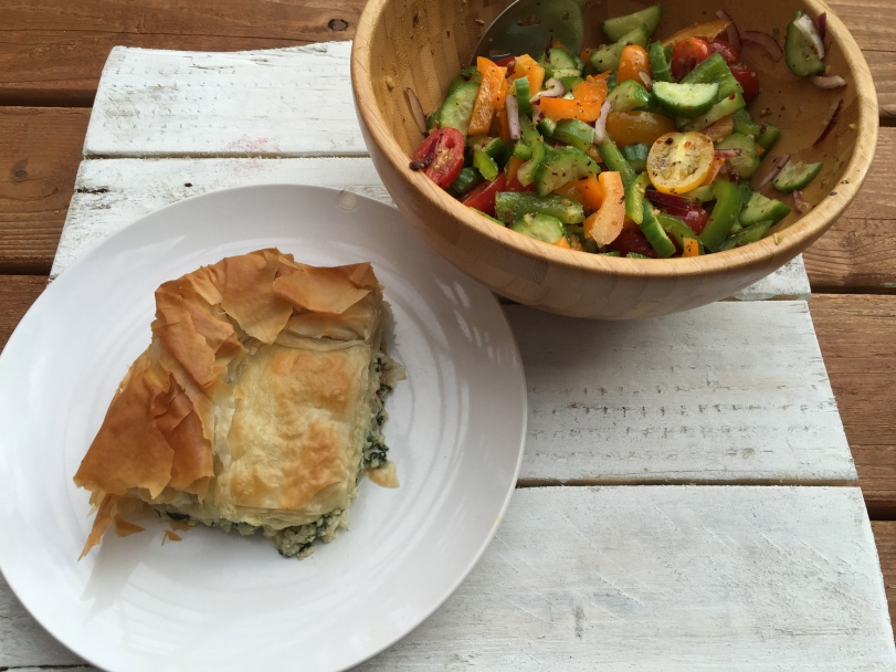 Spinach Phyllo Casserole and a simple side salad