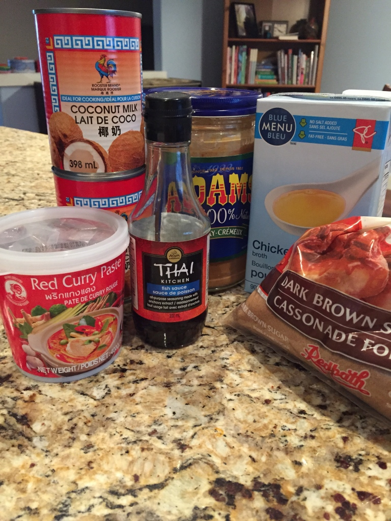Ingredients for the Broth.  Coconut Milk, Peanut Butter, Fish Sauce, Red Curry Paste, Brown Sugar and Chicken Broth